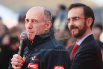 World © Octane Photographic Ltd. 2014 Formula 1 Winter Testing, Circuito de Velocidad, Jerez. Tuesday 27th January 2014. Day 1. Scuderia Toro Rosso STR9 – Launch. Franz Tost and Cepsa. Digital Ref: 0880cb1d8967