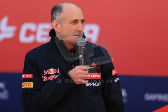 World © Octane Photographic Ltd. 2014 Formula 1 Winter Testing, Circuito de Velocidad, Jerez. Tuesday 27th January 2014. Day 1. Scuderia Toro Rosso STR9 – Launch. Franz Tost. Digital Ref: 0880lw1d9393