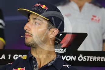World © Octane Photographic Ltd. F1 Austrian GP FIA Drivers' Press Conference, Red Bull Ring, Spielberg, Austria. Thursday 30th June 2016. Red Bull Racing – Daniel Ricciardo . Digital Ref :1596LB1D5011