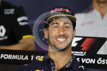 World © Octane Photographic Ltd. F1 Austrian GP FIA Drivers' Press Conference, Red Bull Ring, Spielberg, Austria. Thursday 30th June 2016. Red Bull Racing – Daniel Ricciardo . Digital Ref :1596LB1D5102