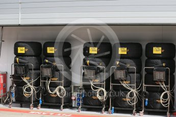 World © Octane Photographic Ltd. Scuderia Ferrari SF16-H – Sebastian Vettel tyres. Thursday 30th June 2016, F1 Austrian GP Paddock, Red Bull Ring, Spielberg, Austria. Digital Ref : 1594LB1D4929