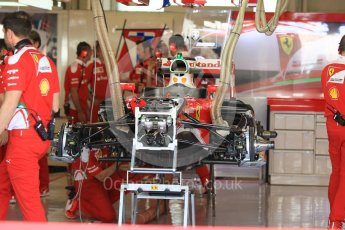 World © Octane Photographic Ltd. Scuderia Ferrari SF16-H under build. Thursday 24th November 2016, F1 Abu Dhabi GP - Pitlane, Yas Marina circuit, Abu Dhabi. Digital Ref :