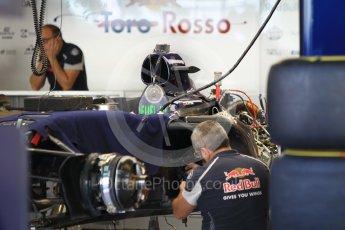 World © Octane Photographic Ltd. Scuderia Toro Rosso STR11 – under build. Thursday 24th November 2016, F1 Abu Dhabi GP - Pitlane, Yas Marina circuit, Abu Dhabi. Digital Ref :