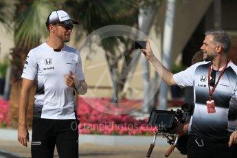 World © Octane Photographic Ltd. F1 Singapore GP paddock prior to the FIA Driver Press Conference part1, Yas Marina circuit, Abu Dhabi. Thursday 24th November 2016. McLaren Honda – Jenson Button . Digital Ref :