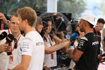 World © Octane Photographic Ltd. F1 Singapore GP paddock prior to the FIA Driver Press Conference part2, Yas Marina circuit, Abu Dhabi. Thursday 24th November 2016. Mercedes AMG Petronas – Lewis Hamilton and Nico Rosberg . Digital Ref :
