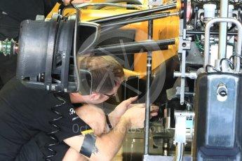 World © Octane Photographic Ltd. Renault Sport F1 Team RS16 - front suspension. Thursday 24th November 2016, F1 Abu Dhabi GP - Pitlane, Yas Marina circuit, Abu Dhabi. Digital Ref :