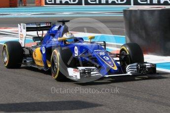 World © Octane Photographic Ltd. Sauber F1 Team C35 – Marcus Ericsson. Friday 25th November 2016, F1 Abu Dhabi GP - Practice 1, Yas Marina circuit, Abu Dhabi. Digital Ref :