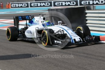 World © Octane Photographic Ltd. Williams Martini Racing, Williams Mercedes FW38 – Felipe Massa. Friday 25th November 2016, F1 Abu Dhabi GP - Practice 1, Yas Marina circuit, Abu Dhabi. Digital Ref :