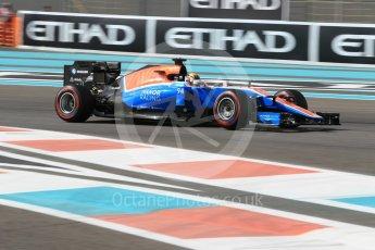 World © Octane Photographic Ltd. Manor Racing MRT05 - Pascal Wehrlein. Friday 25th November 2016, F1 Abu Dhabi GP - Practice 1, Yas Marina circuit, Abu Dhabi. Digital Ref :
