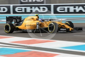 World © Octane Photographic Ltd. Renault Sport F1 Team RS16 – Jolyon Palmer. Friday 25th November 2016, F1 Abu Dhabi GP - Practice 1, Yas Marina circuit, Abu Dhabi. Digital Ref :