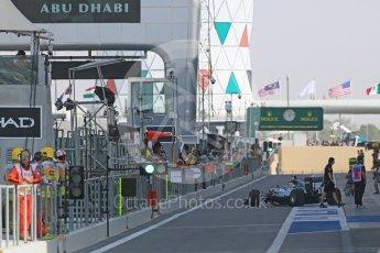 World © Octane Photographic Ltd. Mercedes heading out the pitlane at the start of the session. Friday 25th November 2016, F1 Abu Dhabi GP - Practice 1, Yas Marina circuit, Abu Dhabi. Digital Ref :