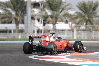 World © Octane Photographic Ltd. Scuderia Ferrari SF16-H – Sebastian Vettel with halo. Friday 25th November 2016, F1 Abu Dhabi GP - Practice 1, Yas Marina circuit, Abu Dhabi. Digital Ref : 1756LB1D7847