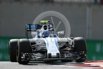 World © Octane Photographic Ltd. Williams Martini Racing, Williams Mercedes FW38 – Valtteri Bottas. Friday 25th November 2016, F1 Abu Dhabi GP - Practice 1, Yas Marina circuit, Abu Dhabi. Digital Ref : 1756LB1D8014
