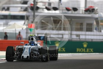 World © Octane Photographic Ltd. Williams Martini Racing, Williams Mercedes FW38 – Valtteri Bottas. Friday 25th November 2016, F1 Abu Dhabi GP - Practice 1, Yas Marina circuit, Abu Dhabi. Digital Ref : 1756LB1D8513