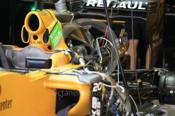 World © Octane Photographic Ltd. Renault Sport F1 Team RS16 - Engine and air intake. Friday 25th November 2016, F1 Abu Dhabi GP - Practice 1, Yas Marina circuit, Abu Dhabi. Digital Ref :