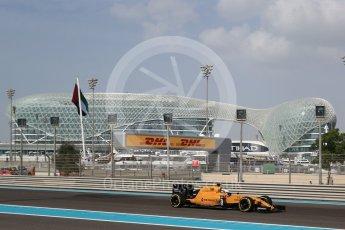 World © Octane Photographic Ltd. Renault Sport F1 Team RS16 - Kevin Magnussen. Friday 25th November 2016, F1 Abu Dhabi GP - Practice 1, Yas Marina circuit, Abu Dhabi. Digital Ref : 1756LB2D7133