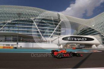 World © Octane Photographic Ltd. Red Bull Racing RB12 – Max Verstappen. Friday 25th November 2016, F1 Abu Dhabi GP - Practice 1, Yas Marina circuit, Abu Dhabi. Digital Ref : 1756LB2D7309