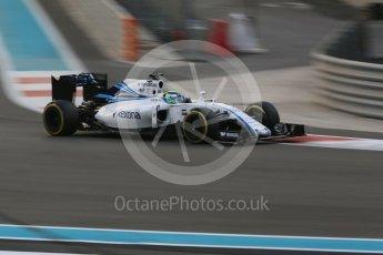 World © Octane Photographic Ltd. Williams Martini Racing, Williams Mercedes FW38 – Felipe Massa. Friday 25th November 2016, F1 Abu Dhabi GP - Practice 2, Yas Marina circuit, Abu Dhabi. Digital Ref :