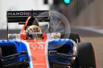 World © Octane Photographic Ltd. Manor Racing MRT05 - Pascal Wehrlein. Saturday 26th November 2016, F1 Abu Dhabi GP - Practice 3, Yas Marina circuit, Abu Dhabi. Digital Ref :