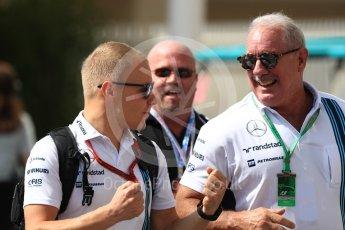 World © Octane Photographic Ltd. Williams Martini Racing, Williams Mercedes FW38 – Valtteri Bottas with Guests. Saturday 26th November 2016, F1 Abu Dhabi GP - Paddock, Yas Marina circuit, Abu Dhabi. Digital Ref : 1764LB1D0195