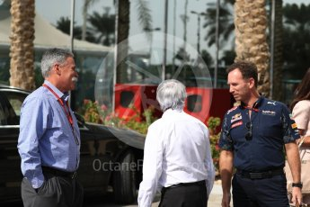 World © Octane Photographic Ltd. Chase Carey - Vice Chairman of the 21st Century Fox media conglomerate and the Chairman of the Formula One Group/Liberty Media with Bernie Ecclestone and Christian Horner - Red Bull Racing. Saturday 26th November 2016, F1 Abu Dhabi GP - Paddock, Yas Marina circuit, Abu Dhabi. Digital Ref : 1764LB1D9553