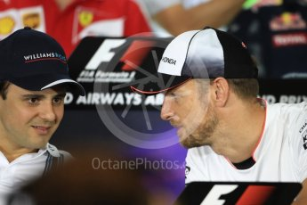 World © Octane Photographic Ltd. F1 FIA Driver Press Conference part1, Yas Marina circuit, Abu Dhabi. Thursday 24th November 2016. McLaren Honda – Jenson Button and Williams Martini Racing – Felipe Massa. . Digital Ref :
