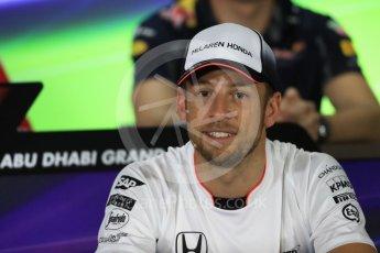 World © Octane Photographic Ltd. F1 FIA Driver Press Conference part1, Yas Marina circuit, Abu Dhabi. Thursday 24th November 2016. McLaren Honda – Jenson Button . Digital Ref :