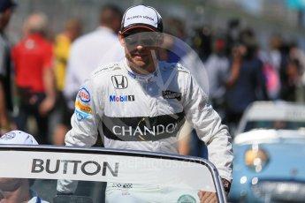 World © Octane Photographic Ltd. McLaren Honda – Jenson Button. Sunday 20th March 2016, F1 Australian GP - Drivers Parade, Melbourne, Albert Park, Australia. Digital Ref : 1523LB1D6291