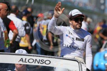 World © Octane Photographic Ltd. McLaren Honda – Fernando Alonso. Sunday 20th March 2016, F1 Australian GP - Drivers Parade, Melbourne, Albert Park, Australia. Digital Ref : 1523LB1D6546