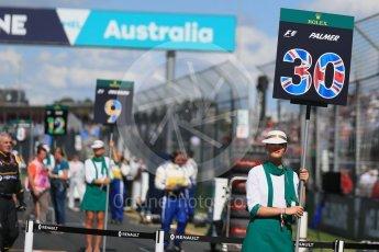World © Octane Photographic Ltd. Renault Sport F1 Team – Jolyon Palmer. Sunday 20th March 2016, F1 Australian GP - Grid, Melbourne, Albert Park, Australia. Digital Ref : 1523LB1D6622