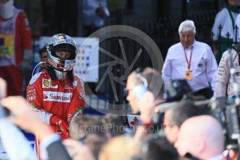 World © Octane Photographic Ltd. Scuderia Ferrari – Sebastian Vettel. Sunday 20th March 2016, F1 Australian GP Race – Parc Ferme, Melbourne, Albert Park, Australia. Digital Ref : 1525LB1D7456