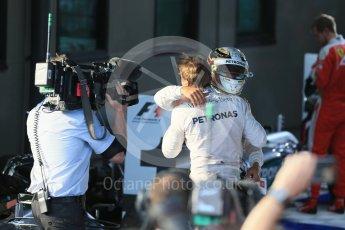 World © Octane Photographic Ltd. Mercedes AMG Petronas – Lewis Hamilton and Nico Rosberg. Sunday 20th March 2016, F1 Australian GP Race – Parc Ferme, Melbourne, Albert Park, Australia. Digital Ref : 1525LB1D7481