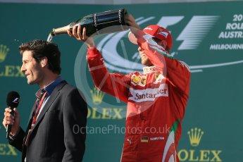 World © Octane Photographic Ltd. Scuderia Ferrari – Sebastian Vettel and Mark Webber. Sunday 20th March 2016, F1 Australian GP Race - Podium, Melbourne, Albert Park, Australia. Digital Ref : 1525LB1D8176