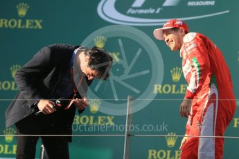 World © Octane Photographic Ltd. Scuderia Ferrari – Sebastian Vettel and Mark Webber. Sunday 20th March 2016, F1 Australian GP Race - Podium, Melbourne, Albert Park, Australia. Digital Ref : 1525LB1D8208