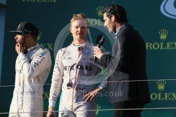World © Octane Photographic Ltd. Mercedes AMG Petronas – Nico Rosberg, Lewis Hamilton and Mark Webber. Sunday 20th March 2016, F1 Australian GP Race - Podium, Melbourne, Albert Park, Australia. Digital Ref : 1525LB1D8425