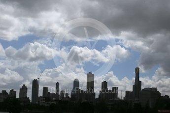 World © Octane Photographic Ltd. Melbourne Skyline. Friday 18th March 2016, F1 Australian GP Practice 1, Melbourne, Albert Park, Australia. Digital Ref : 1516LB1D2759