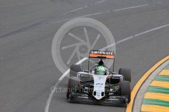 World © Octane Photographic Ltd. Sahara Force India VJM09 - Nico Hulkenberg. Saturday 19th March 2016, F1 Australian GP Qualifying, Melbourne, Albert Park, Australia. Digital Ref : 1521LB1D5283