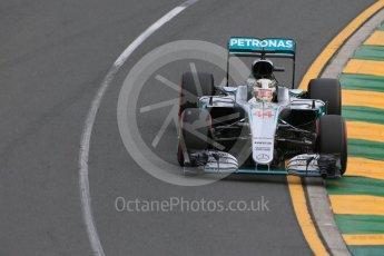 World © Octane Photographic Ltd. Mercedes AMG Petronas W07 Hybrid – Lewis Hamilton. Saturday 19th March 2016, F1 Australian GP Qualifying, Melbourne, Albert Park, Australia. Digital Ref :