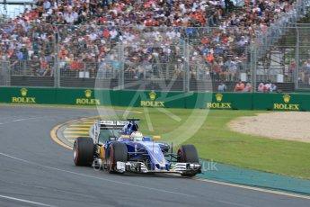 World © Octane Photographic Ltd. Sauber F1 Team C35 – Marcus Ericsson. Sunday 20th March 2016, F1 Australian GP Race, Melbourne, Albert Park, Australia. Digital Ref : 1524LB5D2241