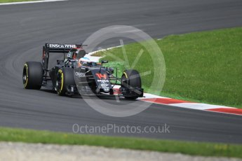 World © Octane Photographic Ltd. McLaren Honda MP4-31 (with new rear wing) – Fernando Alonso. Friday 1st July 2016, F1 Austrian GP Practice 1, Red Bull Ring, Spielberg, Austria. Digital Ref : 1598CB1D1900