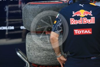 World © Octane Photographic Ltd. Red Bull Racing RB12 – Max Verstappen's tyres. Friday 1st July 2016, F1 Austrian GP Practice 1, Red Bull Ring, Spielberg, Austria. Digital Ref : 1598CB5D2816