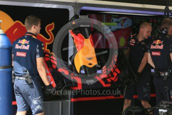 World © Octane Photographic Ltd. Red Bull Racing RB12 – Max Verstappen's car in rebuild. Friday 1st July 2016, F1 Austrian GP Practice 1, Red Bull Ring, Spielberg, Austria. Digital Ref : 1598CB5D2832