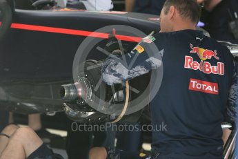 World © Octane Photographic Ltd. Red Bull Racing RB12 – Max Verstappen's car in rebuild. Friday 1st July 2016, F1 Austrian GP Practice 1, Red Bull Ring, Spielberg, Austria. Digital Ref : 1598CB5D2856