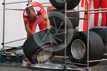 World © Octane Photographic Ltd. Scuderia Ferrari SF16-H wheels and tyres being cleaned. Friday 1st July 2016, F1 Austrian GP Practice 1, Red Bull Ring, Spielberg, Austria. Digital Ref : 1598CB5D3040