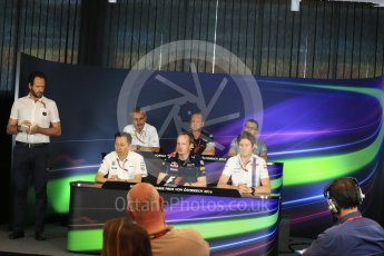 World © Octane Photographic Ltd. F1 Austrian GP FIA Personnel Press Conference, Red Bull Ring, Spielberg, Austria. Friday 1st July 2016. Luca Furbatto - Manor Racing Chielf Designer, Yusuke Hasegawa – Honda Head of Formula 1Project, Paul Monaghan – Red Bull Racing Chief Engineer (Car Engineering), Rob Smedley - Williams Martini Racing Head of Vehicle Performance, Graham Watson - Scuderia Toro Rosso Team Manager and Beat Zehnder – Sauber F1 Team, Team Manager. Digital Ref :1602LB1D5645