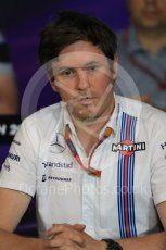 World © Octane Photographic Ltd. F1 Austrian GP FIA Personnel Press Conference, Red Bull Ring, Spielberg, Austria. Friday 1st July 2016. Rob Smedley - Williams Martini Racing Head of Vehicle Performance. Digital Ref :1602LB1D6769