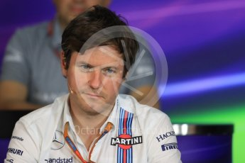 World © Octane Photographic Ltd. F1 Austrian GP FIA Personnel Press Conference, Red Bull Ring, Spielberg, Austria. Friday 1st July 2016. Rob Smedley - Williams Martini Racing Head of Vehicle Performance. Digital Ref :1602LB1D6851