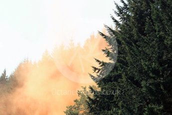World © Octane Photographic Ltd. Fans let off flares. Saturday 27th August 2016, F1 Belgian GP Practice 3, Spa-Francorchamps, Belgium. Digital Ref : 1687LB1D9523