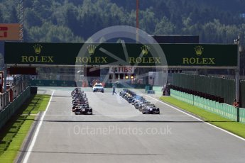 World © Octane Photographic Ltd. Rapax - GP2/11 – Gustav Malja leads the race start. Sunday 28th August 2016, GP2 Race 2, Spa-Francorchamps, Belgium. Digital Ref : 1690LB1D1731
