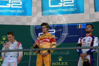 World © Octane Photographic Ltd. Prema Racing - GP2/11 – Antonia Giovinazzi, Rapax - GP2/11 – Gustav Malja and Trident - GP2/11 – Luca Ghiotto. Sunday 28th August 2016, GP2 Race 2, Spa-Francorchamps, Belgium. Digital Ref : 1690LB2D4558